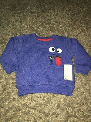 Bnwt Blue Silly Face Jumper 6-9 Matalan New Baby Boys