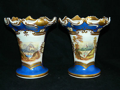 Antique 19th century English pair of small hand painted pottery vases