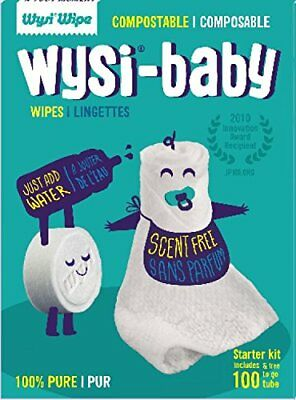 Wysi - Multi-Purpose eco-friendly Wipes Starter Kit with Baby To Go Tube - 100