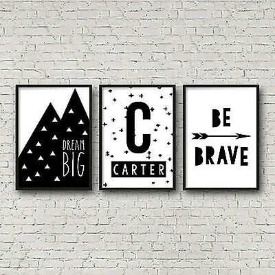 Set of 3 A4 Nursery Bedroom Wall Art Prints-Baby Kids-Personalised Monochrome
