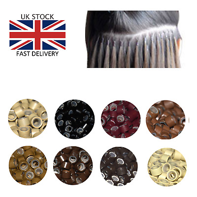 Human Hair Extensions Silicone Lined Micro Beads rings Link Tip 500 5mm UK