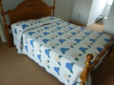 Berks County PA  hand quilted, reversible, applique quilt  1930's-1950's era.