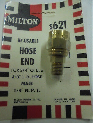 Milton s621 Reusable Brass Male Air Hose End- 1/4 NPT - For 3/4 OD Hose x 3/8 ID