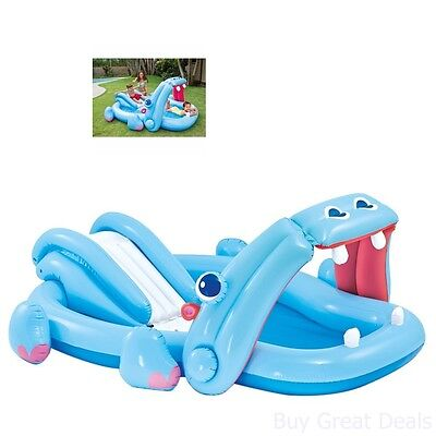 Pool Kids Play Center Water Slide Inflatable Swimming Outdoor Fun Summer Hippo