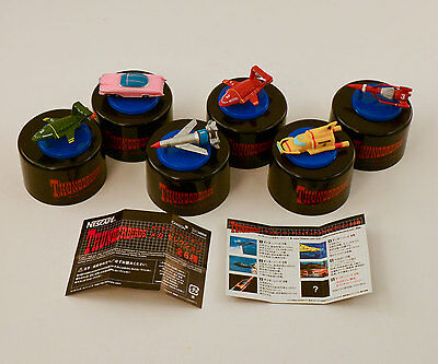 THUNDERBIRDS * Japan Nescafe/Tokusatsu 6-pc MINI VEHICLE Set w/Caps & Inserts