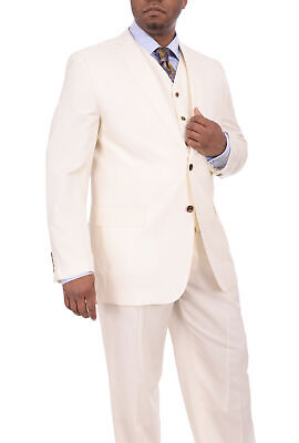 Apollo King Classic Fit Solid Off White Cream Three Piece Wool Suit