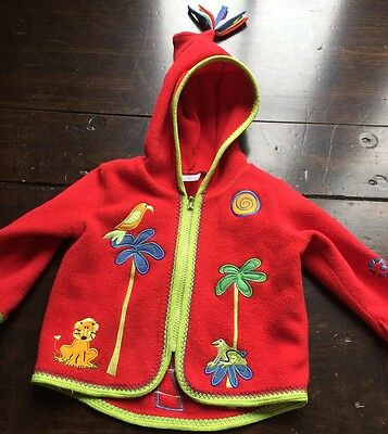 Hanna Andersson Red Fleece Coat size 70 6-12 month--boy or girl