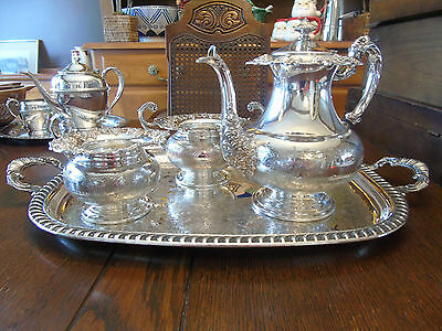 Antique Old English Reproduction Silverplate Bachelor Tea/Coffee Service