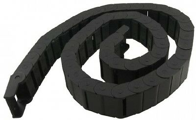 15mm x 30mm Black Plastic Semi Closed Drag Chain Cable Carrier 1M New Solid