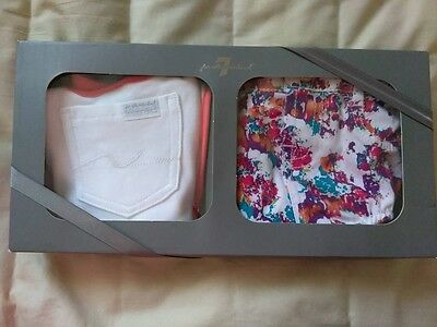 Baby Girl 7 For All Mankind 3 piece Gift Set 3-6 Months Top Bottom Bib Outfit