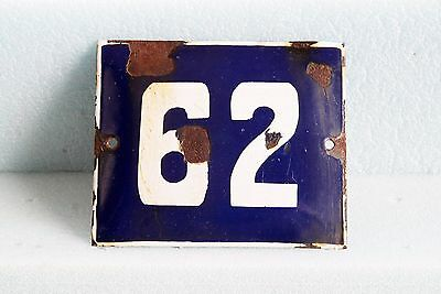 Antique French BLUE ENAMEL PORCELAIN SIGN PLATE HOUSE STREET DOOR NUMBER 62