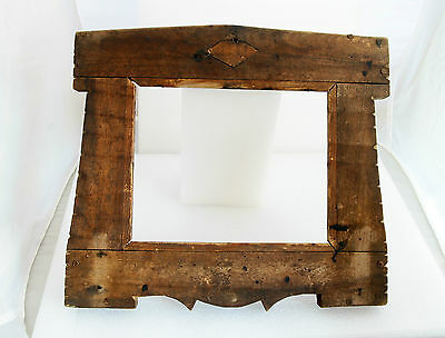 ANTIQUE 19`c PRIMITIVE Hand Made Authentic WOODEN FRAME MIRROR PICTURE