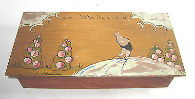 Wooden Glove Box Hand Painted With Crinoline Lady