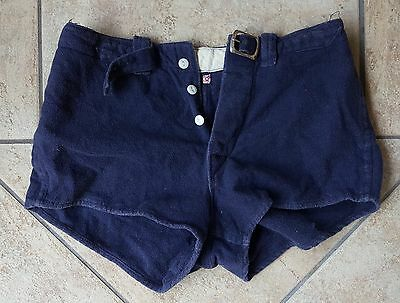 Navy Blue Vintage Men's Swim Trunks Shorts 1930s 30s 1940s 40s? Wool?