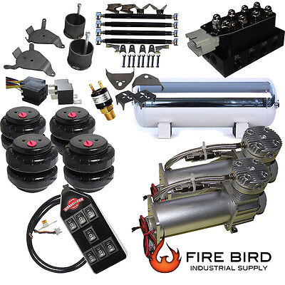 88-98 Chevy Silverado C1500 Air Kit Pewter 2600 Bags 3/8 Valve 7 Switch  acc xzx