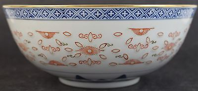 Vintage Chinese Export Porcelain Five Toed Dragon Blue And White Gold Gilt Bowl