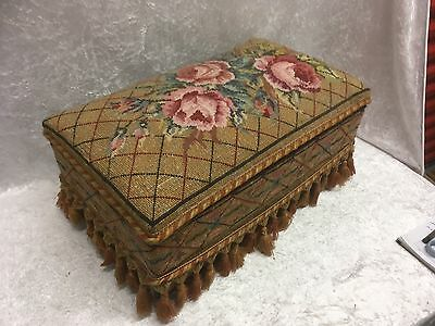 Vintage Upholstered Foot Stool / Sewing Box With Lift Up Lid Shabby Chic