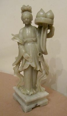 high quality vintage hand carved Kwan Yin Chinese soap stone statue sculpture