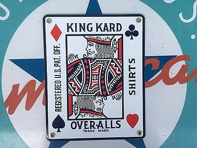 KING KARD - OVERALLS  SHIRTS  top QUALITY porcelain coated 18 GAUGE steel SIGN