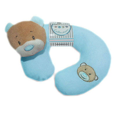 CP Teddy Bear Plush Toddler Baby Car Home Travel Neck Pillow Blue Boys Ages 0+