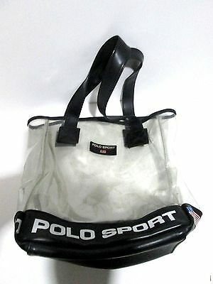 "Vintage 90s Ralph Lauren Polo Sport Clear 13""x14"" Tote Bag Purse Shoulder Bag"