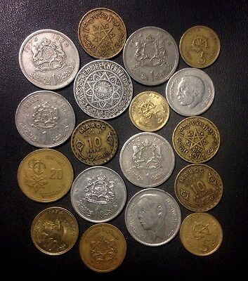 Old Morocco Coin Lot - 1950-Present - 18 Uncommon Coins - Lot #M18