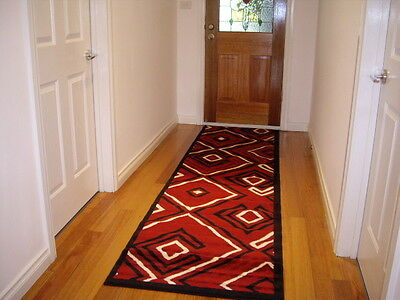 Hallway Runner Hall Runner Rug 3 Metres Long Modern Red Black FREE DELIVERY