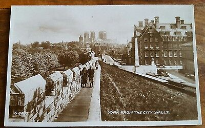 YORK from the City Walls ~ Real Photo Yorkshire postcard ~ Valentines c.1939