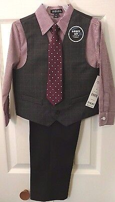 Boys George Red/Gray 4 piece Outfit Shirt/Pants/Vest/Tie   Size 4