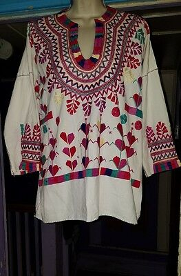 Vintage L Xl Cotton Boho Hippie Mexican Oaxacan Festival Shirt Tunic