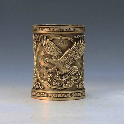 Chinese Antique Handwork Carved Eagle Brass Brush Pot w Xuande Mark M0013