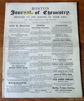 Boston Journal Of Chemistry January 1878 Herb Uses Homeopathic Medicine Good