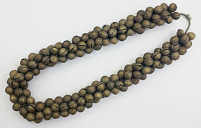 Vintage Heavy Tribal African Bronze Bell Bead Necklace