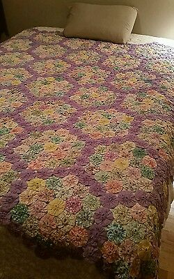 "Beautiful Euc ! Vintage 1930's Yoyo Coverlet / Quilt Topper 79 1/2"" × 75"" Purple"
