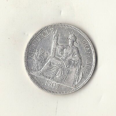 1907 French Indo China Silver Dollar Choice Unc