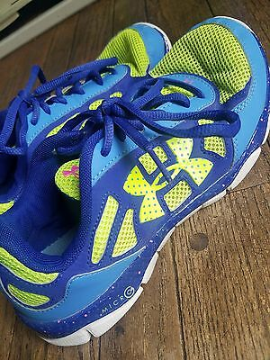 Under Armour womens blue lime green hot pink running tennis shoes 7