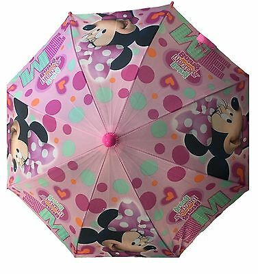 Disney Minnie Mouse Figure Molded Handle Umbrella for Toddler Girl Kid Sized