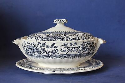 Antique Keeling & Co Tureen & underplate. Blue & white Transfer.