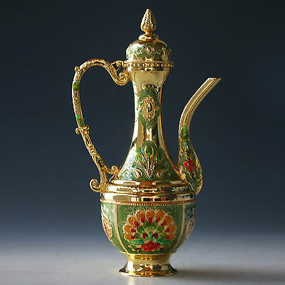 Chinese Cloisonne Handwork Carved Peacock Teapot X0013
