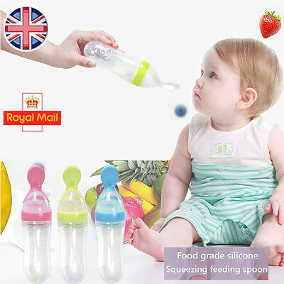 Baby Silicone Squeeze Feeding Bottle With Spoon Food Rice Cereal Feeder 90ML UK