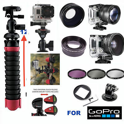 Gopro Hero5 Black Wide Angle Lens+Telephoto Zoom Lens+ Flex Tripod + Filter Kit