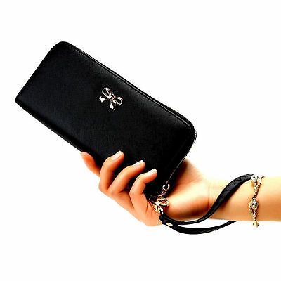Fashional Women Black Leather Clutch Wallet Long Card Holder Lady Purse Handbag