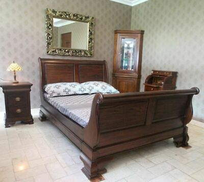 Solid Mahogany Wood King Size High Foot Sleigh Bed Antique Reproduction Design