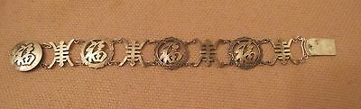 vintage ornate Chinese sterling silver free China symbol thick ling bracelet