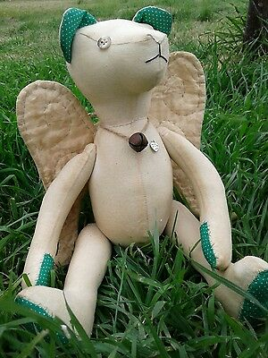 "Primitive Folk Art 13"" Muslin Teddy bear angel  ""Chester "" green pin dot"