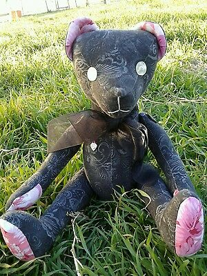 "Primitive Folk Art 13"" Muslin Teddy bear   ""Chester "" black and pink"
