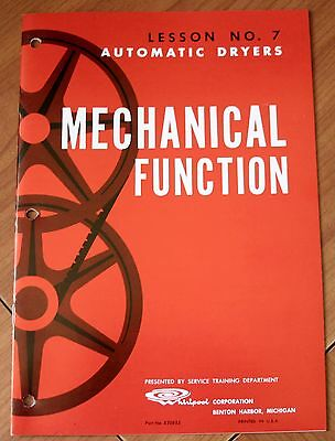 1963 Whirlpool Automatic Dryers Mechanical Function Lesson No. 7, Part No. 82085