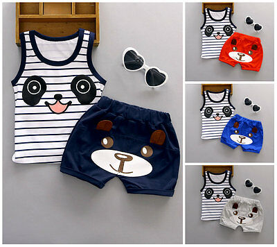 Baby kids boys clothes top vest & short pants 2PCs summer daily Outfits panda