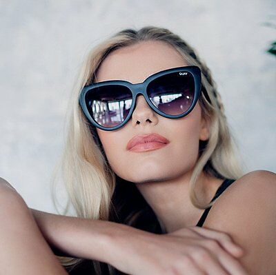 "Quay Australia Black/smoke ""stray Cat""  Oversized Cat Eye Sunglasses New"