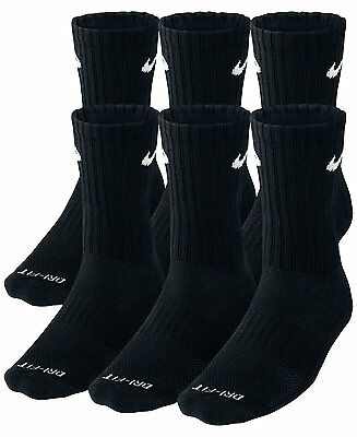 SALE NEW Nike Dri Fit Dry Fit Cotton Black Crew Socks 3 Or 6 Pair Large 8-12